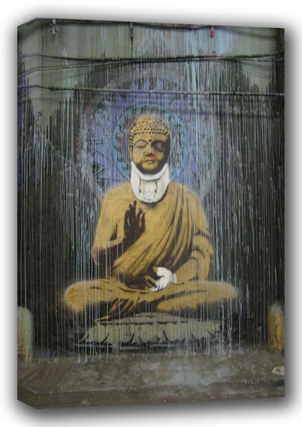 Banksy: Injured Buddha. Graffiti/Street Fine Art Canvas. Sizes: A4/A3/A2/A1 (001197)